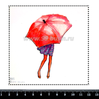 Шаблон для броши Девушка под зонтом 885, фетр Корея Премиум, толщина 1,25 мм, размер 10*10 см 063367 - 99 бусин