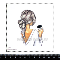 Шаблон для броши Девушка с кофе 754, фетр Корея Премиум, толщина 1,25 мм, размер 10*10 см 063368 - 99 бусин