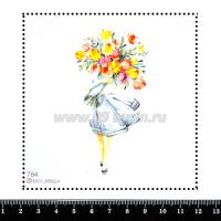 Шаблон для броши Девушка с огромным букетом цветов 764, фетр Корея Премиум, толщина 1,25 мм, размер 10*10 см 063369 - 99 бусин