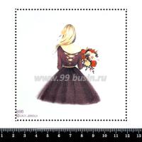 Шаблон для броши Девушка в пышной юбке 998, фетр Корея Премиум, толщина 1,25 мм, размер 10*10 см 063372 - 99 бусин