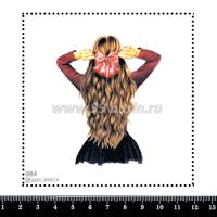 Шаблон для броши Девушка с бантиком 984, фетр Корея Премиум, толщина 1,25 мм, размер 10*10 см 063375 - 99 бусин