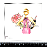 Шаблон для броши Девушка с пионами и шампанским 973, фетр Корея Премиум, толщина 1,25 мм, размер 10*10 см 063376 - 99 бусин