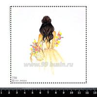 Шаблон для броши Девушка с плетеной сумкой и цветами 756, фетр Корея Премиум, толщина 1,25 мм, размер 10*10 см 063378 - 99 бусин