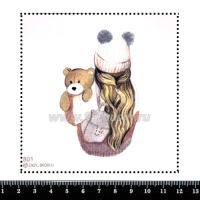 Шаблон для броши Девушка в шапочке с плюшевым мишкой 801, фетр Корея Премиум, толщина 1,25 мм, размер 10*10 см 063379 - 99 бусин