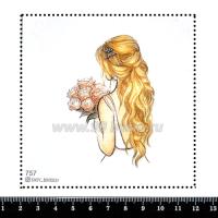 Шаблон для броши Девушка с длинными волосами 757, фетр Корея Премиум, толщина 1,25 мм, размер 10*10 см 063382 - 99 бусин