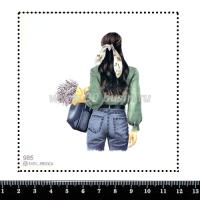 Шаблон для броши Девушка в блузе и джинсах 985, фетр Корея Премиум, толщина 1,25 мм, размер 10*10 см 063384 - 99 бусин