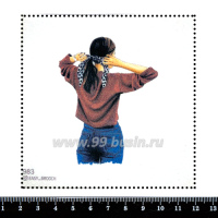 Шаблон для броши Брюнетка с хвостиком 983, фетр Корея Премиум, толщина 1,25 мм, размер 10*10 см 063386 - 99 бусин