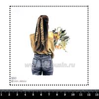 Шаблон для броши Брюнетка с лентой в волосах 980, фетр Корея Премиум, толщина 1,25 мм, размер 10*10 см 063387 - 99 бусин