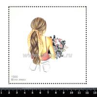 Шаблон для броши Девушка в розовом топе с открытой спиной 1000, фетр Корея Премиум, толщина 1,25 мм, размер 10*10 см 063390 - 99 бусин