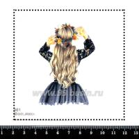 Шаблон для броши Девушка с венком цветов на голове 981, фетр Корея Премиум, толщина 1,25 мм, размер 10*10 см 063391 - 99 бусин