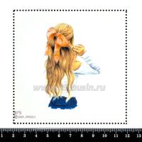 Шаблон для броши Девушка в белой кофточке и персиковым бантом 975, фетр Корея Премиум, толщина 1,25 мм, размер 10*10 см 063392 - 99 бусин
