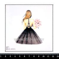 Шаблон для броши Девушка в платье с Эйфелевой башней 971, фетр Корея Премиум, толщина 1,25 мм, размер 10*10 см 063393 - 99 бусин