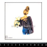 Шаблон для броши Девушка с кремовыми пионами 978, фетр Корея Премиум, толщина 1,25 мм, размер 10*10 см 063395 - 99 бусин