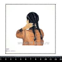 Шаблон для броши Девушка с косичками 986, фетр Корея Премиум, толщина 1,25 мм, размер 10*10 см 063396 - 99 бусин