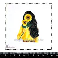 Шаблон для броши Девушка с подсолнухами 987, фетр Корея Премиум, толщина 1,25 мм, размер 10*10 см 063397 - 99 бусин