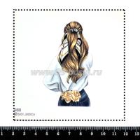 Шаблон для броши Девушка с розами в джинсах 988, фетр Корея Премиум, толщина 1,25 мм, размер 10*10 см 063398 - 99 бусин