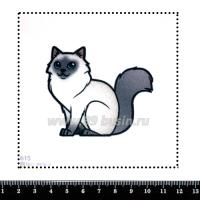 Шаблон для броши Котик с серой мордочкой 615, фетр Корея Премиум, толщина 1,25 мм, размер 10*10 см 063400 - 99 бусин