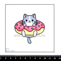 Шаблон для броши Котик в пончике 613, фетр Корея Премиум, толщина 1,25 мм, размер 10*10 см 063409 - 99 бусин