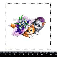 Шаблон для броши Котики под шляпкой, фетр Корея Премиум, толщина 1,25 мм, размер 10*10 см 063413 - 99 бусин
