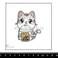 Шаблон для броши Котик с bubble tea 960, фетр Корея Премиум, толщина 1,25 мм, размер 10*10 см 063415 - 99 бусин