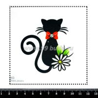 Шаблон для броши Силуэт чёрной кошки с красным бантом 243, фетр Корея Премиум, толщина 1,25 мм, размер 10*10 см 063419 - 99 бусин