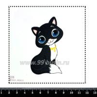 Шаблон для броши Кошка в колье 228, фетр Корея Премиум, толщина 1,25 мм, размер 10*10 см 063420 - 99 бусин