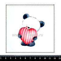 Шаблон для броши Панда с сердечком, фетр Корея Премиум, толщина 1,25 мм, размер 10*10 см 063422 - 99 бусин
