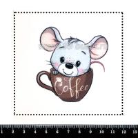 Шаблон для броши Мышонок в чашке кофе, фетр Корея Премиум, толщина 1,25 мм, размер 10*10 см 063426 - 99 бусин