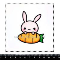 Шаблон для броши Зайка с морковкой, фетр Корея Премиум, толщина 1,25 мм, размер 10*10 см 063435 - 99 бусин
