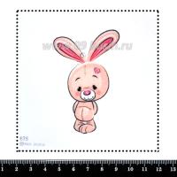 Шаблон для броши Зайка розовый 676, фетр Корея Премиум, толщина 1,25 мм, размер 10*10 см 063436 - 99 бусин