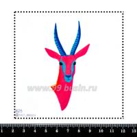 Шаблон для броши Графический портрет козла розовый 625, фетр Корея Премиум, толщина 1,25 мм, размер 10*10 см 063437 - 99 бусин