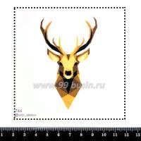 Шаблон для броши Графический портрет оленя 744, фетр Корея Премиум, толщина 1,25 мм, размер 10*10 см 063438 - 99 бусин