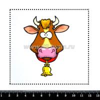 Шаблон для броши Корова с колокольчиком, фетр Корея Премиум, толщина 1,25 мм, размер 10*10 см 063441 - 99 бусин