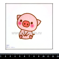 Шаблон для броши Поросёнок 597, фетр Корея Премиум, толщина 1,25 мм, размер 10*10 см 063446 - 99 бусин