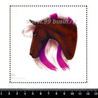 Шаблон для броши Лошадь с сиреневой гривой 849, фетр Корея Премиум, толщина 1,25 мм, размер 10*10 см 063453 - 99 бусин