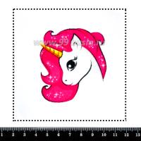 Шаблон для броши Единорог с розовой гривой 454, фетр Корея Премиум, толщина 1,25 мм, размер 10*10 см 063458 - 99 бусин