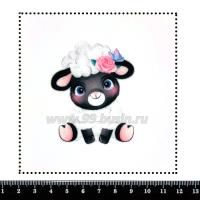 Шаблон для броши Овечка с цветочком и бабочкой, фетр Корея Премиум, толщина 1,25 мм, размер 10*10 см 063461 - 99 бусин