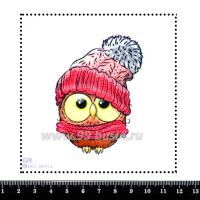 Шаблон для броши Сова в розовой шапке 026,, фетр Корея Премиум, толщина 1,25 мм, размер 10*10 см 063466 - 99 бусин