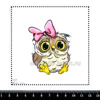 Шаблон для броши Сова с розовым бантом 137, фетр Корея Премиум, толщина 1,25 мм, размер 10*10 см 063467 - 99 бусин