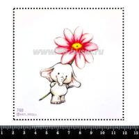 Шаблон для броши Слонёнок и цветок 769, фетр Корея Премиум, толщина 1,25 мм, размер 10*10 см 063469 - 99 бусин