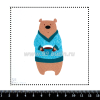 Шаблон для броши Медведь в свитере 725, фетр Корея Премиум, толщина 1,25 мм, размер 10*10 см 063472 - 99 бусин