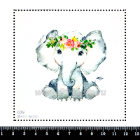 Шаблон для броши Маленький слоник 039, фетр Корея Премиум, толщина 1,25 мм, размер 10*10 см 063476 - 99 бусин