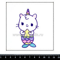 Шаблон для броши Котёнок-русалка 395, фетр Корея Премиум, толщина 1,25 мм, размер 10*10 см 063477 - 99 бусин