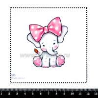 Шаблон для броши Слонёнок с розовым бантом 685, фетр Корея Премиум, толщина 1,25 мм, размер 10*10 см 063478 - 99 бусин