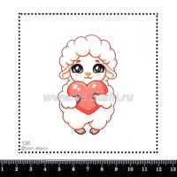 Шаблон для броши Овечка с сердечком 135, фетр Корея Премиум, толщина 1,25 мм, размер 10*10 см 063481 - 99 бусин