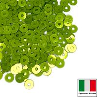 Пайетки 3 мм Италия плоские цвет 2029 Зелёный металлик 3 грамма 063503 - 99 бусин
