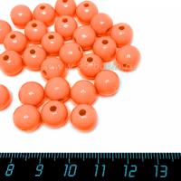 Бусины пластик 10 мм, цвет Оранжевый коралл, упаковка 20 гр/около 40 шт 063514 - 99 бусин