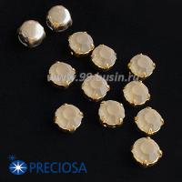 Шатоны (стразы) PRECIOSA MAXIMA пришивные хрустальные МАТОВЫЕ, размер ss-39 (8,4 мм), цвет Black Diamond/оправа Gold 1штука, Чехия 063533 - 99 бусин