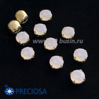 Шатоны (стразы) PRECIOSA MAXIMA пришивные хрустальные МАТОВЫЕ, размер ss-39 (8,4 мм), цвет Whyte Opal/оправа Gold 1штука, Чехия 063535 - 99 бусин