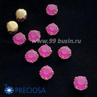 Шатоны (стразы) PRECIOSA MAXIMA пришивные хрустальные МАТОВЫЕ, размер ss-39 (8,4 мм), цвет Fuchsia/оправа Gold 1 штука, Чехия 063543 - 99 бусин